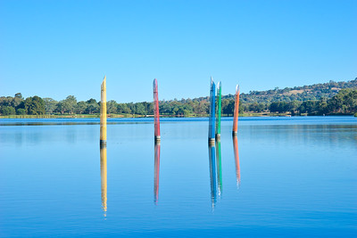 Bollards on Lake Ginninderra