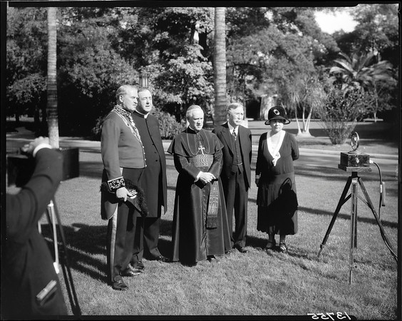 Cardinal Hayes, Mr. & Mrs. Doheny, et al., consecration of St. Vincent's Church, Los Angeles, Calif., 1930