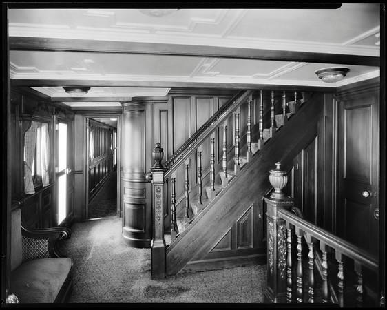 Corridor and stairs, steam yacht Casiana, ca. 1916-1939