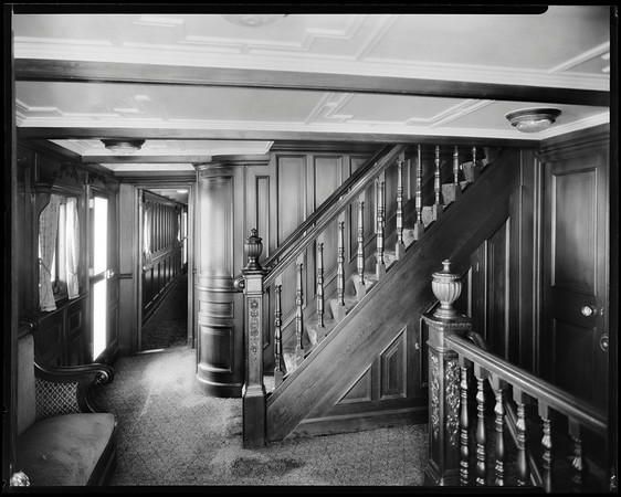 Corridor and stairs, steam yacht Casiana, ca. 1916-1939
