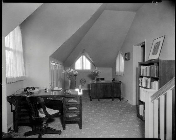 Upstairs office, Doheny Mansion, Chester Place, Los Angeles, Calif., 1933