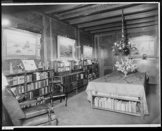 Rare book room, Doheny Mansion, Chester Place, Los Angeles, Calif., ca. 1920-1930?