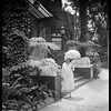 Estelle Doheny, main entrance, Doheny Mansion, Los Angeles, Calif., ca. 1902-1920?