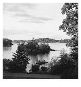 Blick von der Terrasse des Hotels Möckelsnäs Herrgård in Diö, Kronobergs län (Schweden), 9. August 2016