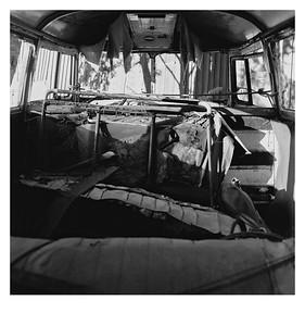Blick in alten VW-Bus, Munkfors (Schweden), 15. August 2015