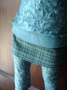 AG Teal Lace 2 Layer Tank Leggings & Teal Plaid Skirt detail