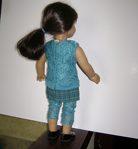 AG Teal Lace 2 Layer Tank Leggings & Teal Plaid Skirt back