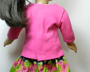 AG BK Pink 3 qtr Sleeve Tee  w Ruffle & BK Calico Tiered Skirt top back