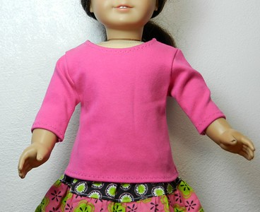 AG BK Pink 3 qtr Sleeve Tee  w Ruffle & BK Calico Tiered Skirt top front
