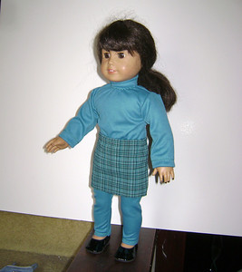 AG Teal Turtleneck & Leggings w Teal Plaid Skirt full