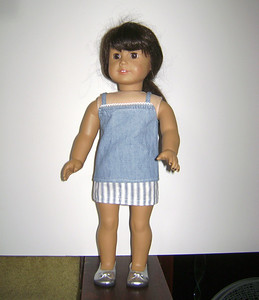 AG Blue Chambray Cami w White Trim & Blue & White Stripe Skirt full
