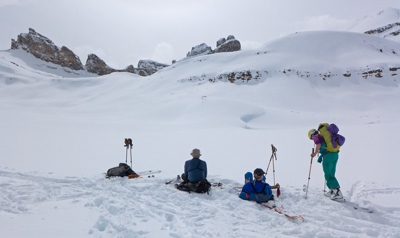 Afternoon tea below the backside of Dolomite Peak.