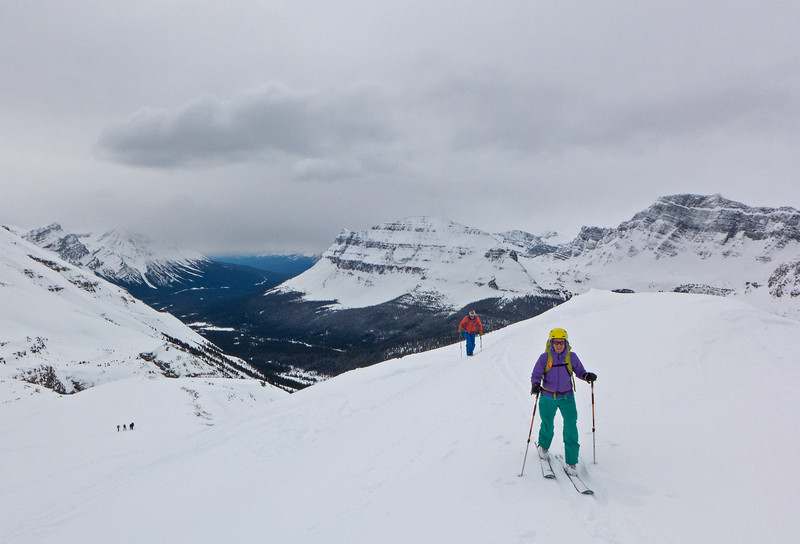 """Cathy and Dave at the highpoint of """"Dolomite Ridge""""- the start of the nice  ski run down to Katherine Lake."""