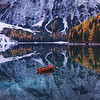 Rowing on the Braies lake
