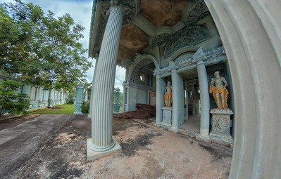 at the abandoned beachside mansion, som roi yot beach, prachuap khiri-khan, thailand in July 2017