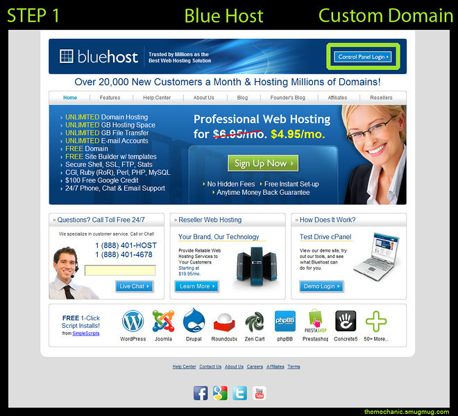 <h3>Login to the Control Panel</h3> Blue Host URL: http://www.bluehost.com