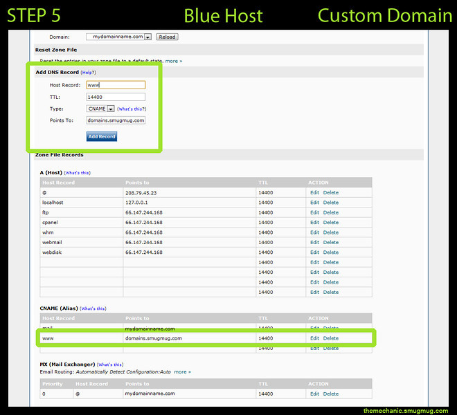 "<h3>Create A CName - Or - Edit If Existing</h3> ***First look to see if there is an existing CName Record for ""www"". If one currently exists, click the edit button to modify this record. Once you have opened the edit box, change the existing ""Points To"" to ""domains.smugmug.com"".  ***If no ""www"" CName Record exists, create a new one at the top of this page.  Blue Host Help Page:https://my.bluehost.com/cgi/help/cname"