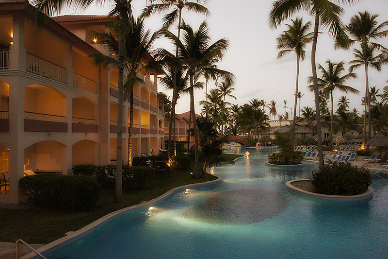 Early evening view of rooms and pool where we stayed.