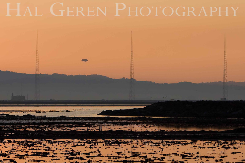 Early morning blimp over the Dumbarton Bridge Causeway<br /> Don Edwards Wildlife Refuge, Fremont, California<br /> 0711R-DS2WB