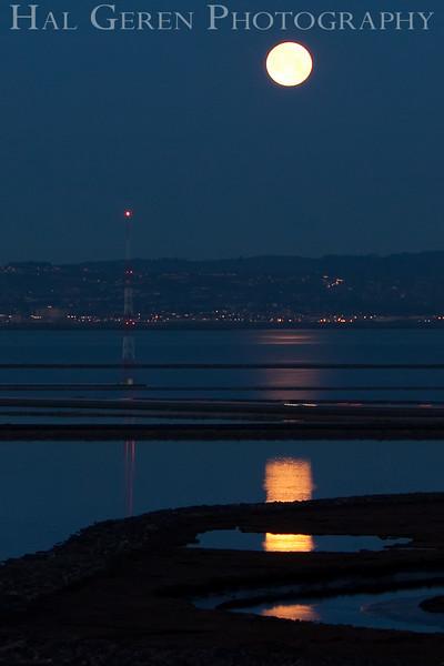 Moonset<br /> Don Edwards Natl Wildlife Refuge, Fremont, California<br /> March, 2009<br /> 0903R-M1