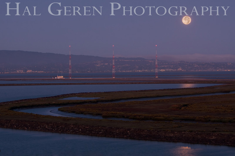 Moon over the mid-bay<br /> Don Edwards Natl Wildlife Refuge, Fremont, California<br /> 0909R-MOD1