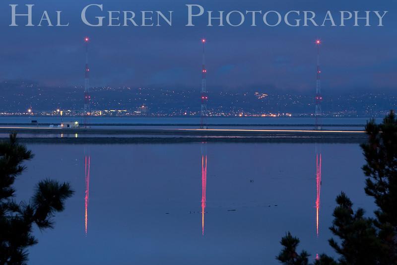 KGO Radio Towers at dawn<br /> Don Edwards Natl Wildlife Refuge, Fremont, California<br /> March, 2009<br /> 0903R-KT1