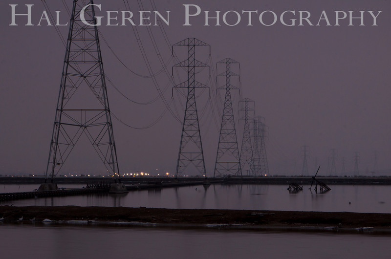 Power lines over the early morning salt ponds<br /> Don Edwards National Wildlife Refuge.  Fremont, CA<br /> 1009R-PL11