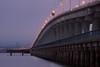 Dumbarton Bridges.  The original bridge, now a fishing pier, has the lower railing.<br /> Don Edwards National Wildlife Refuge.  Fremont, CA<br /> 1009R-DEM1