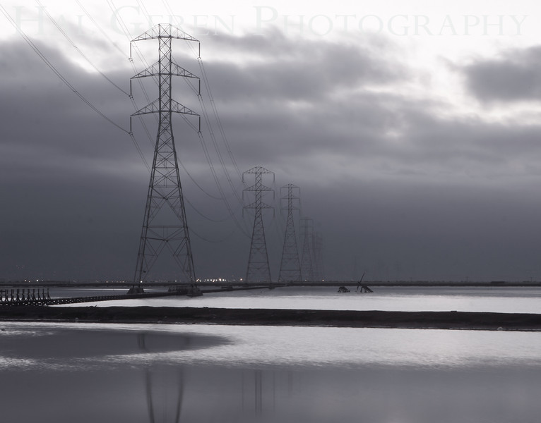 Power Lines over the Salt Ponds<br /> Don Edwards National Wildlife Refuge.  Fremont, CA<br /> 1009R-PL6