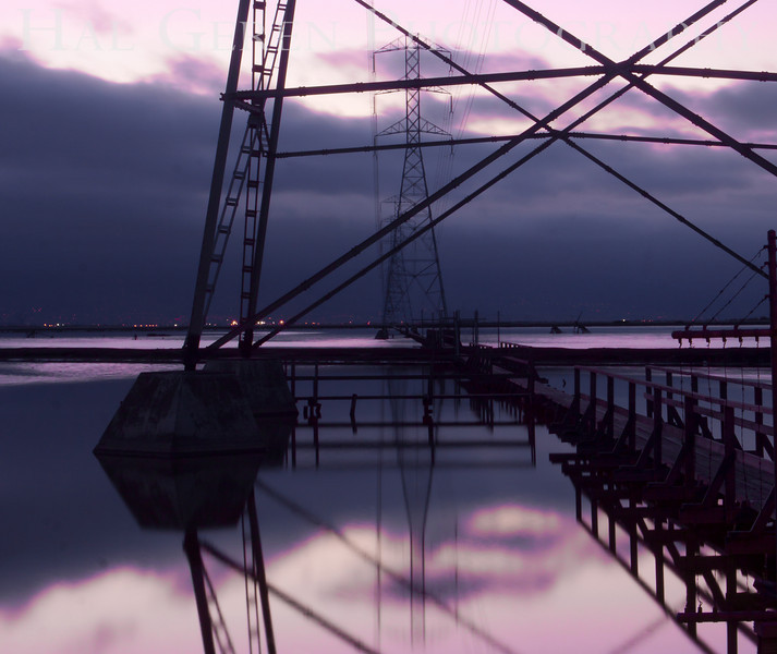 Power lines over the early morning salt ponds<br /> Don Edwards National Wildlife Refuge.  Fremont, CA<br /> 1009R-PL1A