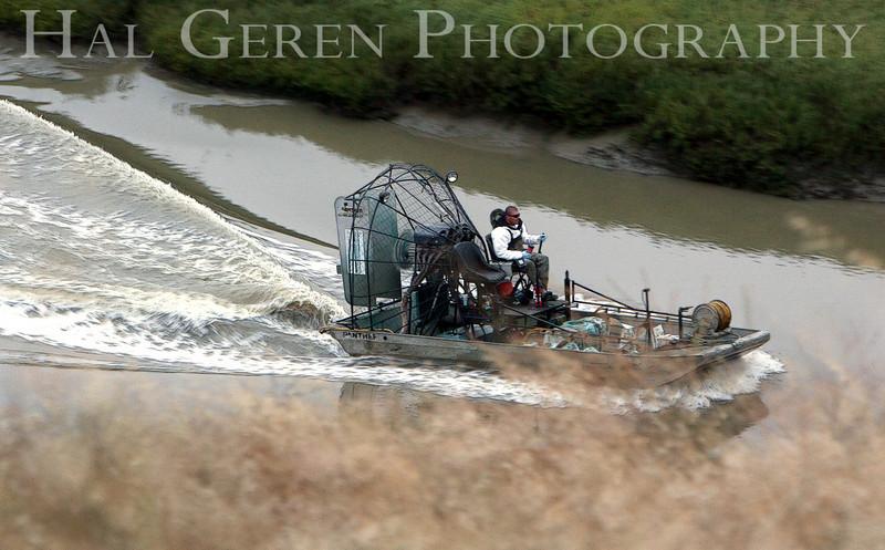 Airboat on Newark Slough<br /> Don Edwards National Wildlife Refuge.  Fremont, CA<br /> 1009R-AIS3
