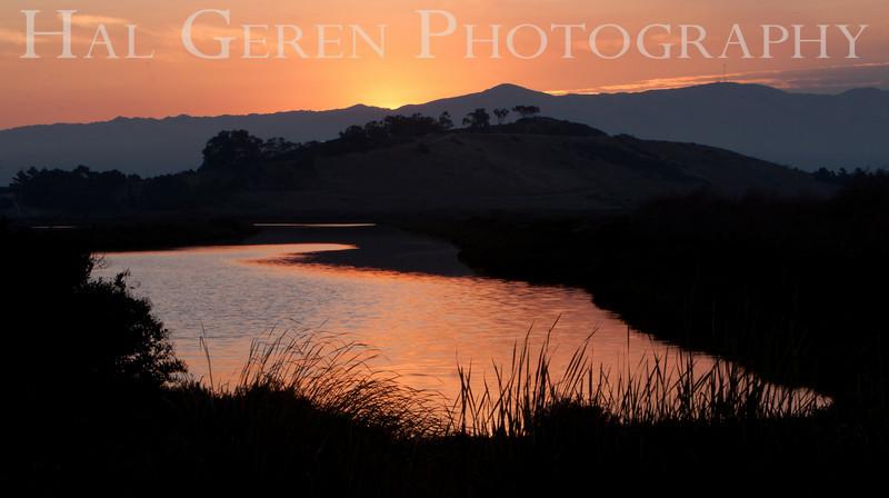 Sunrise over the levees<br /> Don Edwards National Wildlife Refuge.  Fremont, CA<br /> 1009R-SS3