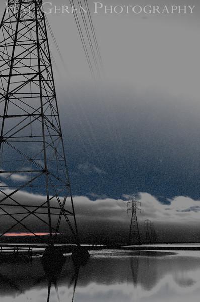 Power lines over the early morning salt ponds<br /> Don Edwards National Wildlife Refuge.  Fremont, CA<br /> 1009R-PL4E2