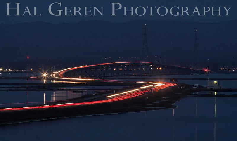 Dumbarton Bridge at Night<br /> Don Edwards Natl Wildlife Refuge<br /> Fremont, California<br /> 1204R-DAN2