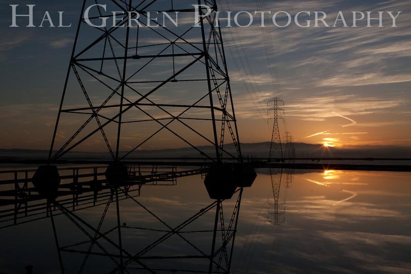 Power Poles on a Still Morning<br /> Don Edwards Natl Wildlife Refuge, Fremont, CA<br /> 1110R-PPOASM1
