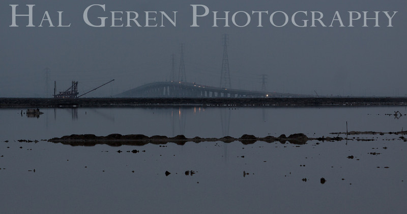 Dredger and the Dumbarton Bridge<br /> Don Edwards National Wildlife Refuge, Fremont, California<br /> 1209R-DAD2-2