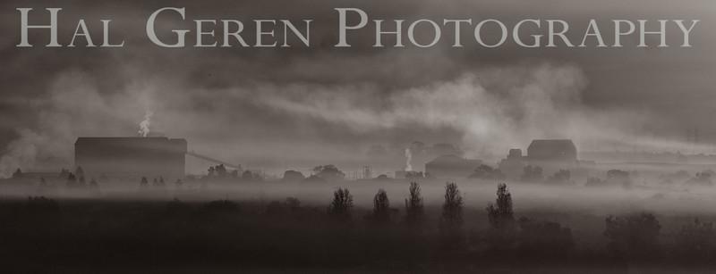 Morning Mist over Newark<br /> Don Edwards National Wildlife Refuge, Fremont, California<br /> 1211R-MM4BW1