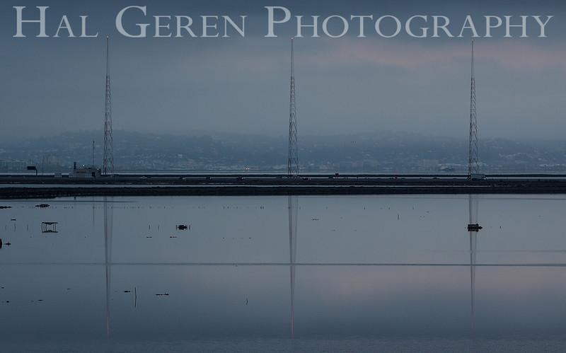 KGO Radio Towers on the Dumbarton Bridge Causeway<br /> Don Edwards National Wildlife Refuge, Fremont, California<br /> 1208R-KGOT1