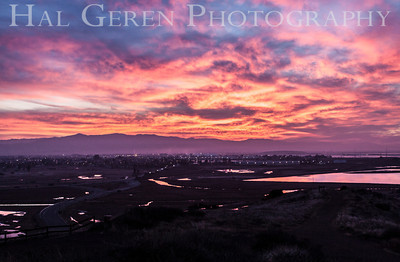 Sunrise over Newark from Don Edwards National Wildlife Reserve Fremont, California 1310R-S3