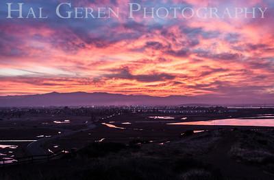 Sunrise over Newark from Don Edwards National Wildlife Reserve Fremont, California 1310R-S3