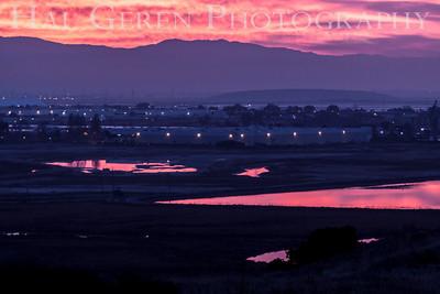 Sunrise over Newark from Don Edwards National Wildlife Reserve Fremont, California 1310R-S1
