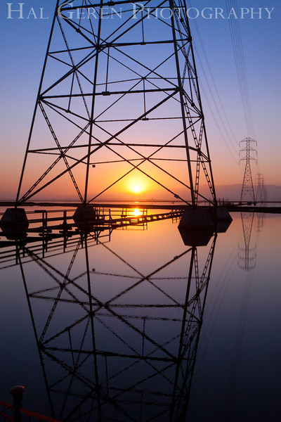 Sunrise and Power Lines<br /> Don Edwards Nat'l Wildlife Refuge<br /> Fremont, California<br /> 1109R-SOTSP5