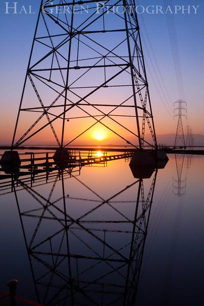 Sunrise and Power Lines<br /> Don Edwards Nat'l Wildlife Refuge<br /> Fremont, California<br /> 1109R-SOTSP5