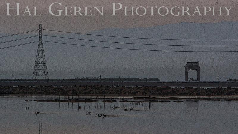 Railroad Bridge and Power Tower<br /> Fremont, California<br /> 1104R-SB1E1P