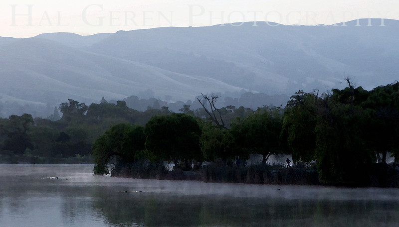 Early Morning Jogger on Lake Elizabeth<br /> Fremont, California<br /> 1105LL-FJ1E1W