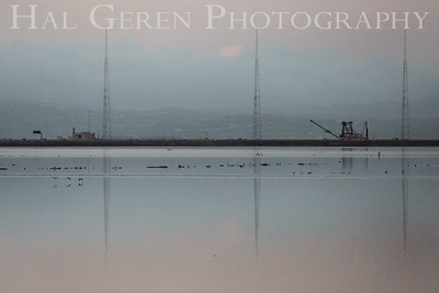 Dredger and the KGO radio towers Don Edwards National Wildlife Refuge, Fremont, California 1407R-DAKT1