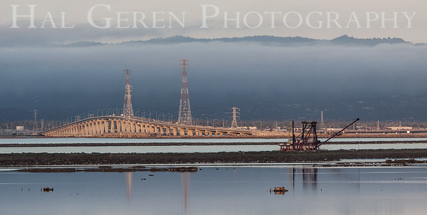Dumbarton Bridge and Dredger Don Edwards National Wildlife Refuge, Fremont, California 1407R-DAB2