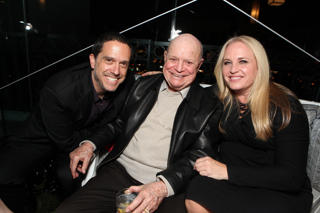 . Director Lee Unkrich, Don Rickles and Producer Darla K. Anderson at Walt Disney\'s Pre-Golden Globe Party at The London Hotel on January 15, 2011 in West Hollywood, California.  (Photo by Eric Charbonneau/Invision/AP Images)
