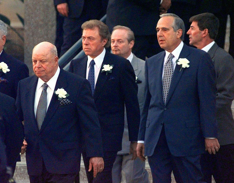. Don Rickles, far left, followed by Steve Lawrence, second left, and other unidentified pallbearers walk to the hearse to carry the casket of legendary entertainer Frank Sinatra\'s coffin to the Church of the Good Shepherd in Beverly Hills, Calif., for a vigil. (AP Photo/Susan Sterner)
