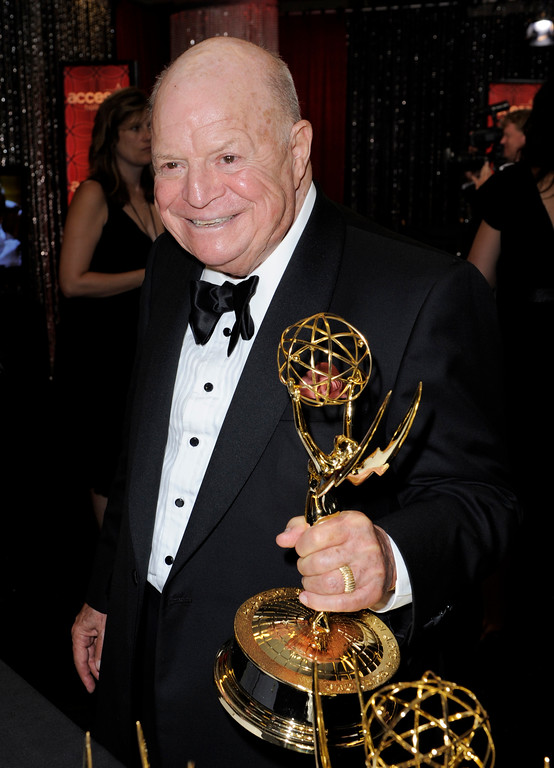 ". Don Rickles holds the award for outstanding individual performance in a variety or music program for his work on the ""Mr. Warmth: The Don Rickles Project\"" backstage at the 60th Primetime Emmy Awards Sunday, Sept. 21, 2008, in Los Angeles. (AP Photo/Kevork Djansezian)"